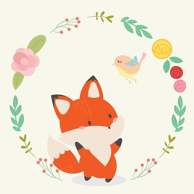 Ilustração em vetor fox fofo arte desenhada de mão Vetor Premium