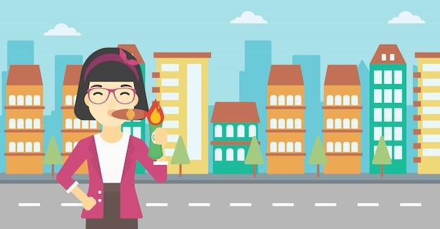Ilustração em vetor fumar charuto mulher de negócios. Vetor Premium