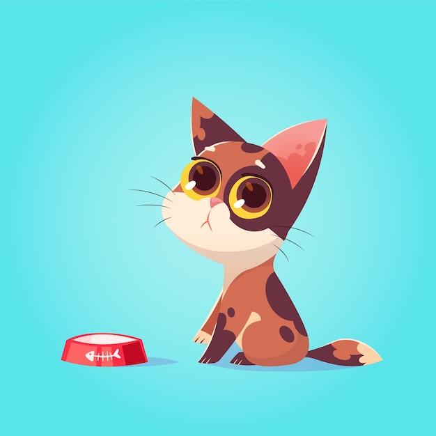 Ilustração em vetor gato bonito personagem. estilo de desenho animado. piedade, gatinho faminto com tigela. animal. Vetor Premium