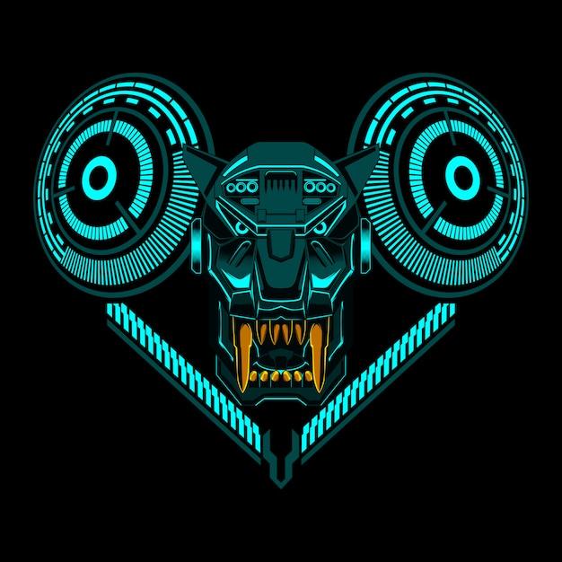 Ilustração em vetor geométrico tigre cabeça de robô Vetor Premium