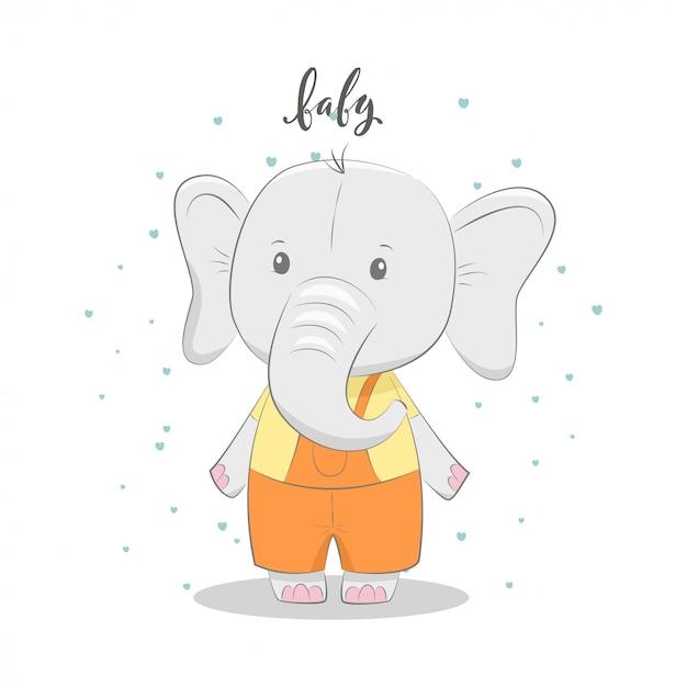 Ilustração em vetor gira com bebê elefante Vetor Premium