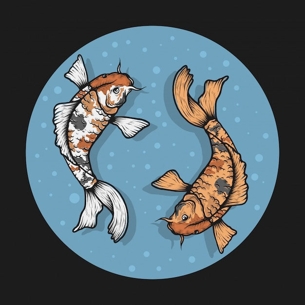 Ilustração em vetor handdrawn peixe koi vintage Vetor Premium