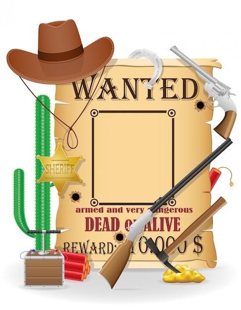 Ilustração em vetor ícones do conceito de oeste selvagem de vaqueiro Vetor Premium