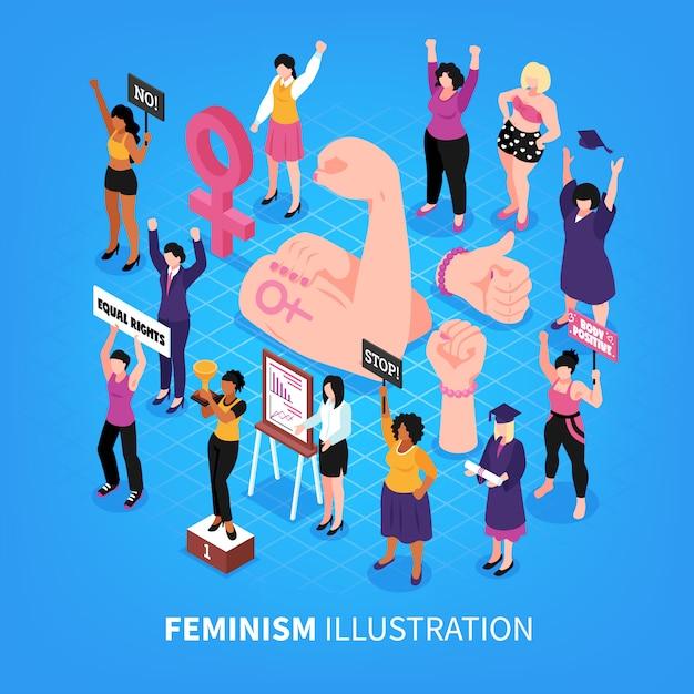 Ilustração em vetor isométrica feminismo composição com punhos e personagens humanos de ativistas femininas com mulheres Vetor grátis