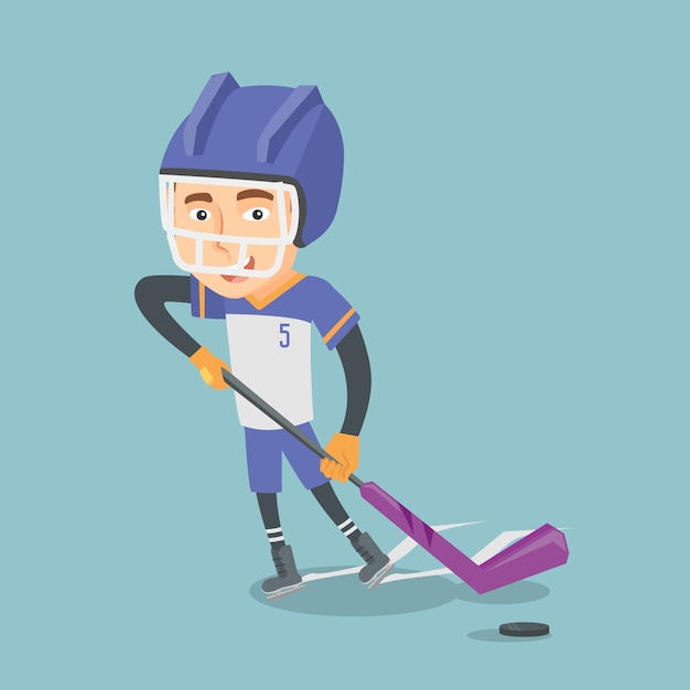 Ilustração em vetor jogador de hóquei no gelo. Vetor Premium