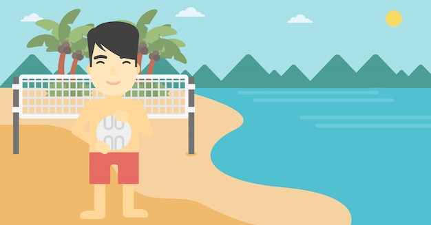 Ilustração em vetor jogador de vôlei de praia. Vetor Premium