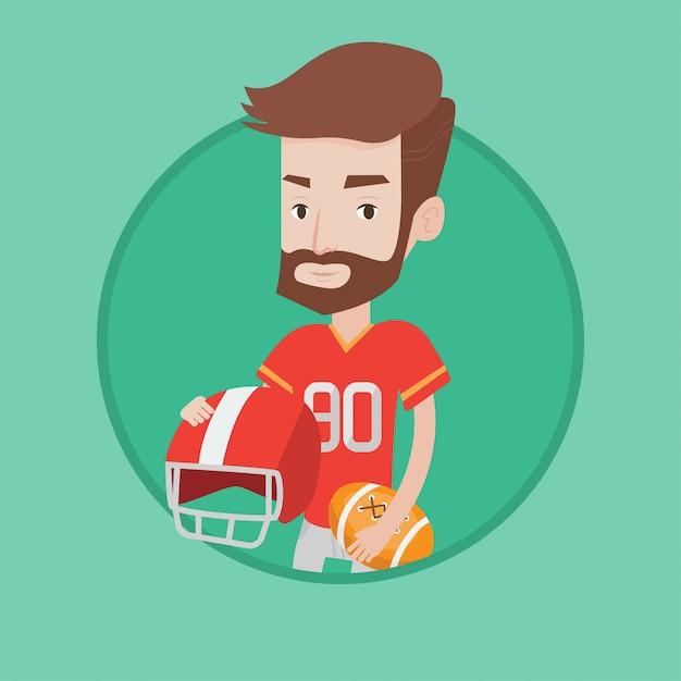 Ilustração em vetor jogador rugby. Vetor Premium