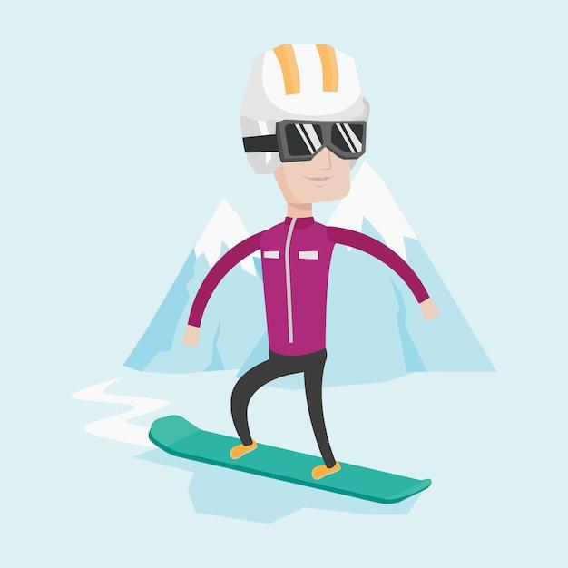 Ilustração em vetor jovem snowboard. Vetor Premium