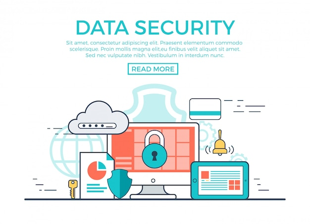 Ilustração em vetor linear conceito segurança de dados com modelo de texto Vetor grátis