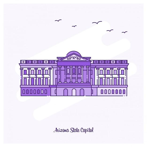 Ilustração em vetor linhaça pontilhada do marco do estado do arizona capitol roxo Vetor Premium