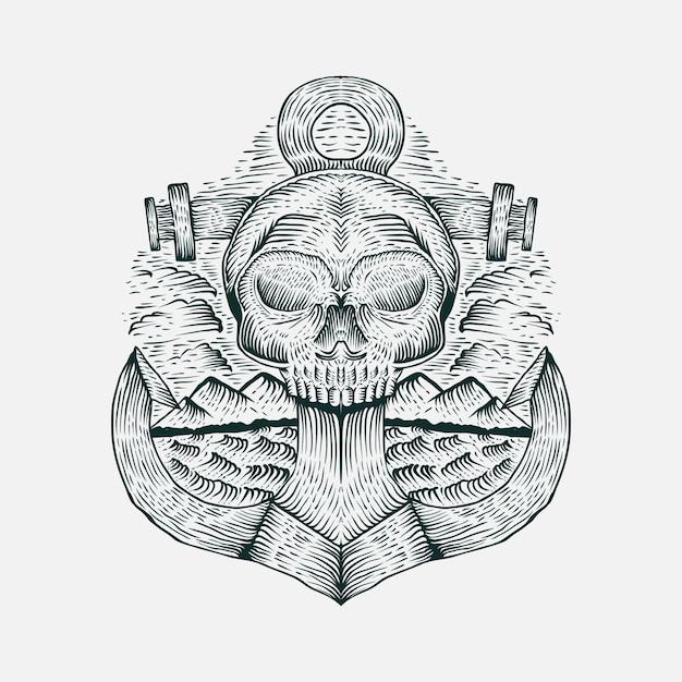 Ilustração em vetor mão desenhada caveira âncora Vetor Premium