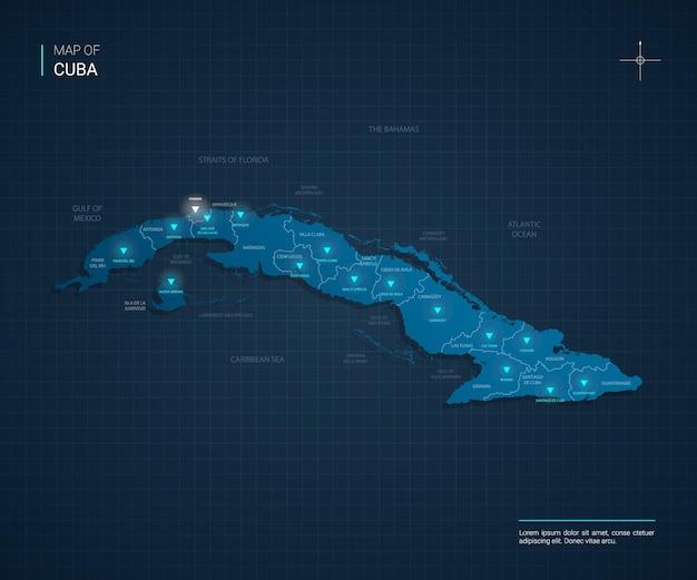 Ilustração em vetor mapa de cuba com pontos de luz de néon azul Vetor Premium