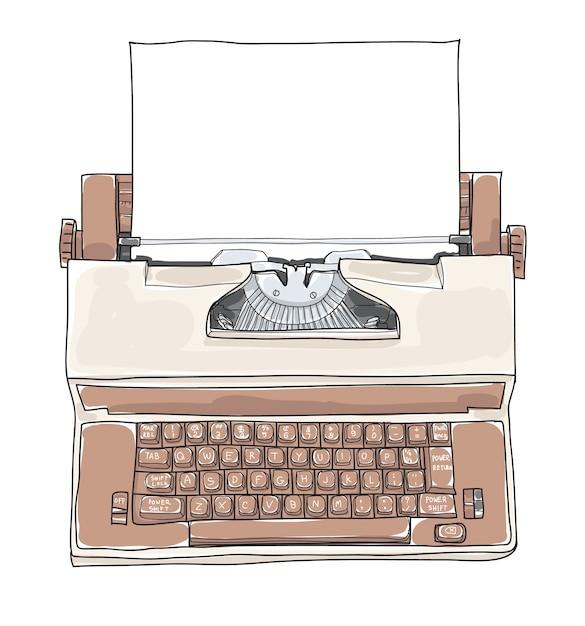 Ilustração em vetor marrom vintage máquina de escrever elétrica Vetor Premium