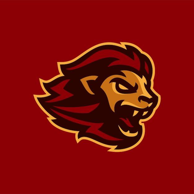 Ilustração em vetor mascote leão esports logotipo Vetor Premium