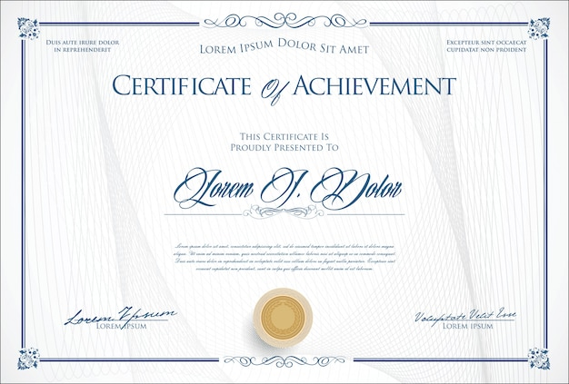 Ilustração em vetor modelo certificado ou diploma retrô Vetor Premium