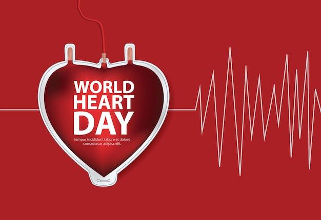 Ilustração em vetor modelo de design de cartaz do dia mundial do coração Vetor Premium