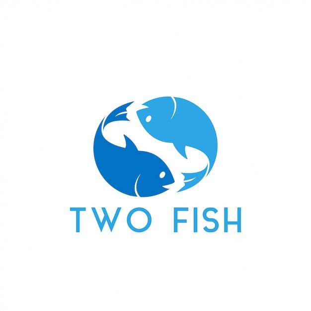 Ilustração em vetor modelo dois peixes design gráfico Vetor Premium