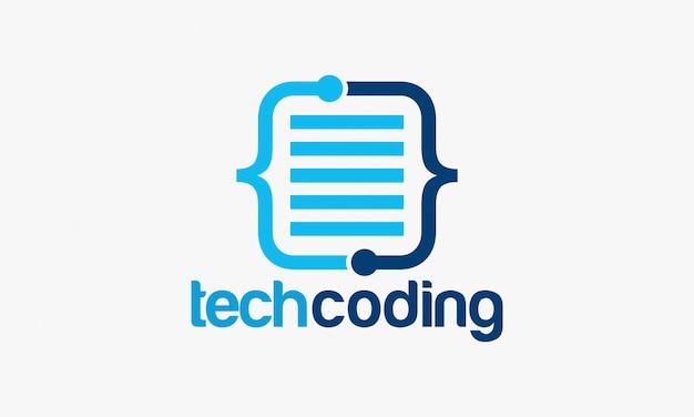 Ilustração em vetor modelo tecnologia codificação logotipo Vetor Premium