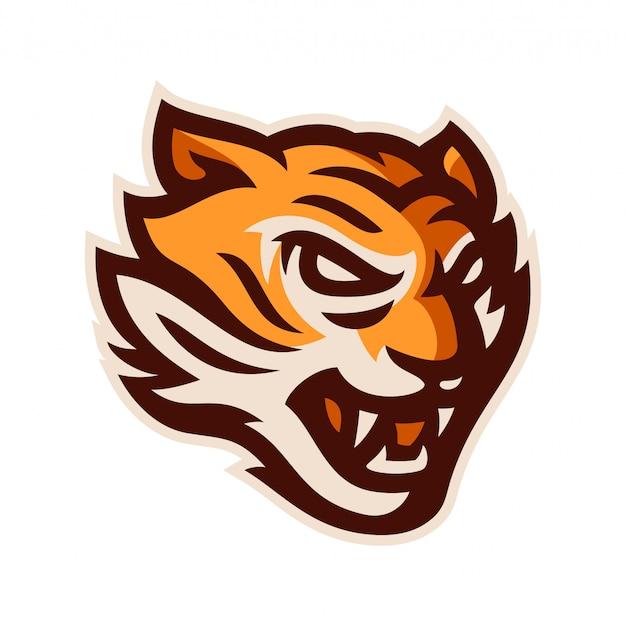Ilustração em vetor modelo tigre cabeça logotipo mascote Vetor Premium