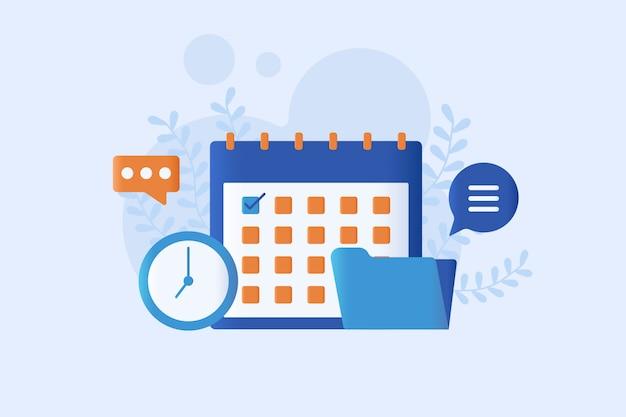 Ilustração em vetor moderna agenda on-line Vetor Premium