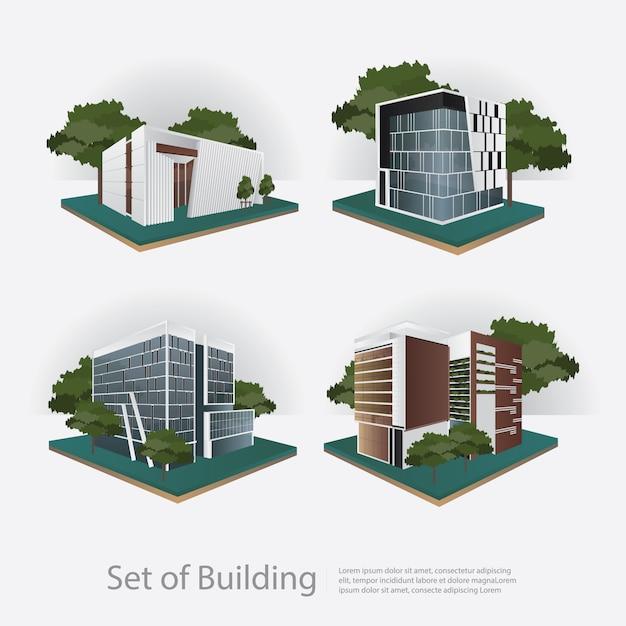 Ilustração em vetor moderna cidade edifício perspectiva Vetor Premium