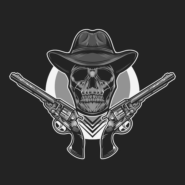 Ilustração em vetor monocromático caveira cowboy Vetor Premium