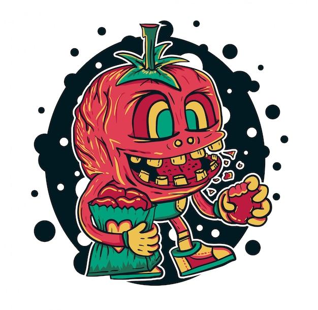 Ilustração em vetor monstro tomate Vetor Premium