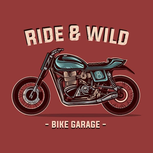 Ilustração em vetor moto vintage personalizado bicicleta garagem Vetor Premium
