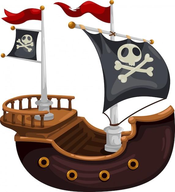 Ilustração em vetor navio pirata Vetor Premium