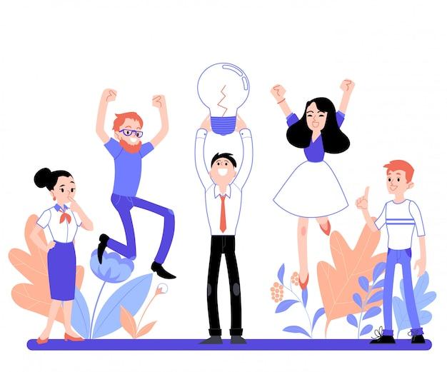 Ilustração em vetor negócios de pessoas no escritório, estilo cartoon plana de brainstorming. Vetor Premium