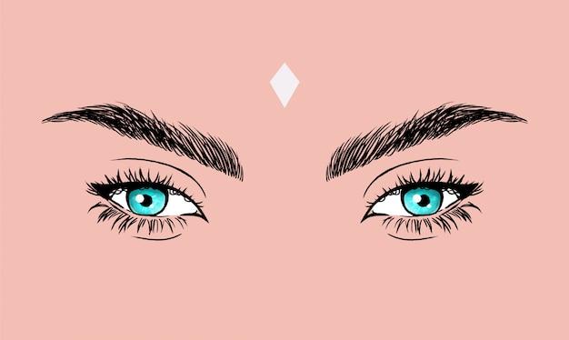 Ilustração em vetor olhos azuis com delineador foxy. Vetor Premium