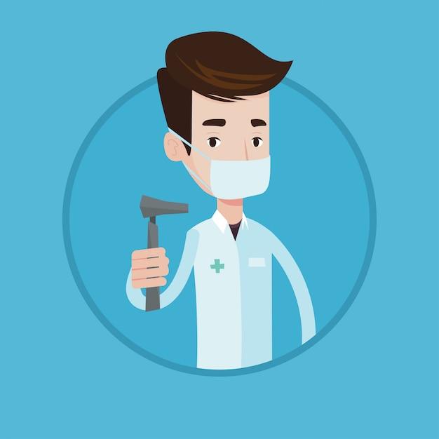Ilustração em vetor ouvido nariz garganta médico. Vetor Premium