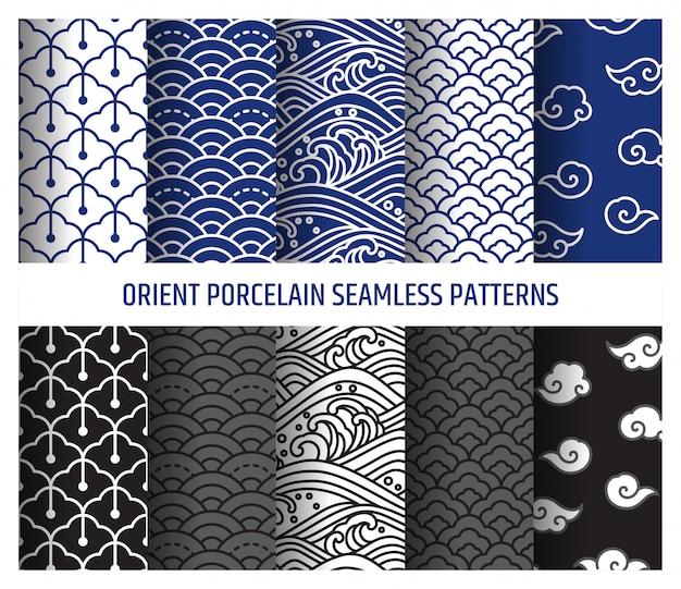 Ilustração em vetor padrões de arte de linha perfeita de porcelana oriental. onda e nuvem asiáticas. Vetor Premium