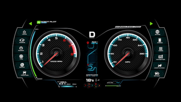 Ilustração em vetor painel traço carro Vetor Premium
