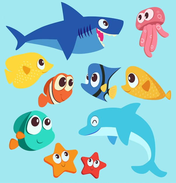 Ilustração em vetor personagem animal do mar Vetor Premium