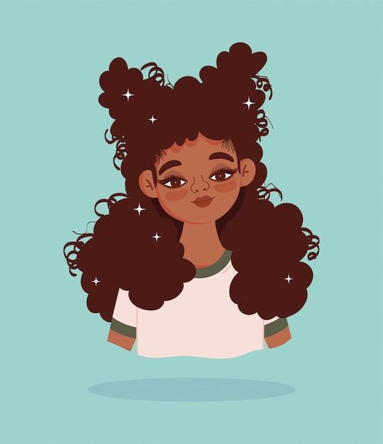 Ilustração em vetor personagem de desenho animado retrato garota afro-americana Vetor Premium