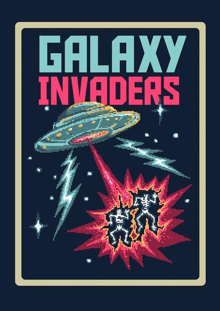Ilustração em vetor pixel art de invasores de ovnis do espaço alienígena com as cores do videogame dos anos 80 Vetor Premium