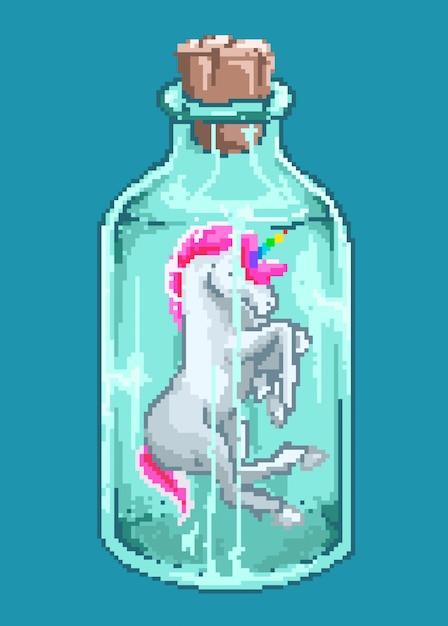 Ilustração em vetor pixel art do personagem kawaii bonito de mini unicórnio dentro de uma garrafa com estilo de cores dos anos 80. Vetor Premium