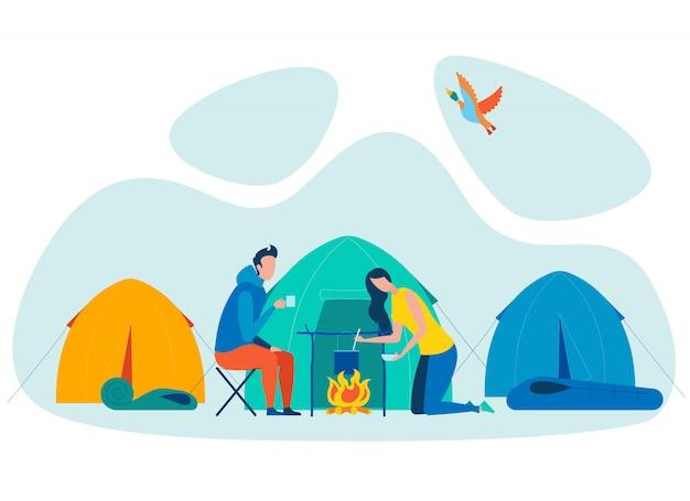 Ilustração em vetor plana acampar casal férias Vetor Premium
