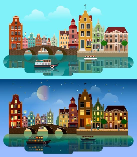 Ilustração em vetor plana amsterdã holanda dia e noite paisagem urbana. edifícios ao longo do rio com o barco. Vetor grátis