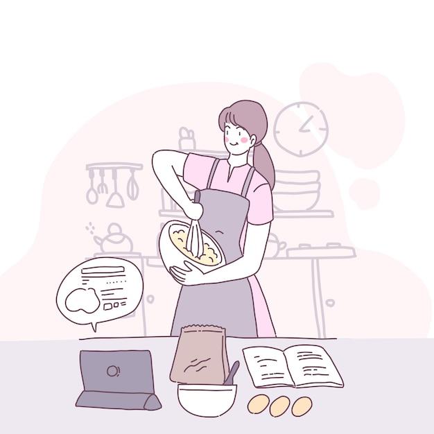 Ilustração em vetor plana com uma garota que cozinha na cozinha Vetor grátis