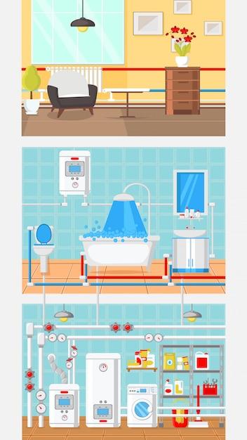Ilustração em vetor plana conceito interior quartos. Vetor Premium