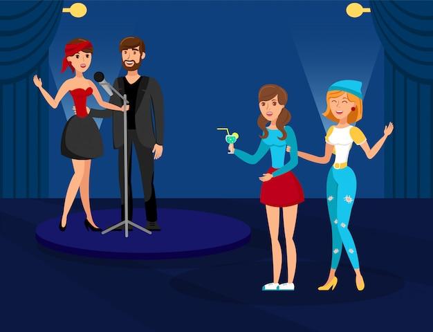 Ilustração em vetor plana de festa de karaoke do clube de noite Vetor Premium