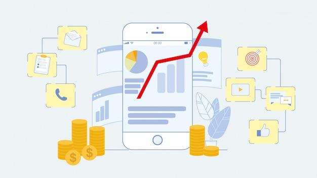 Ilustração em vetor plana de marketing on-line Vetor Premium