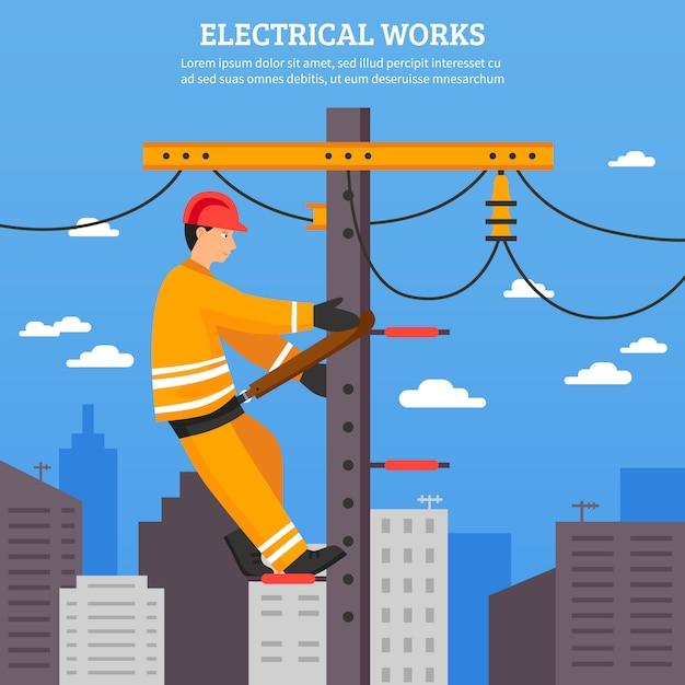 Ilustração em vetor plana de obras elétricas Vetor grátis
