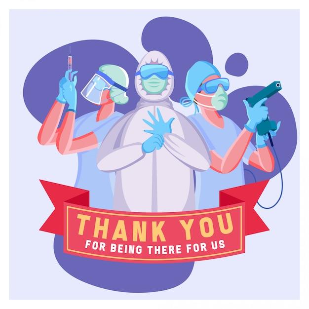 Ilustração em vetor plana de obrigado pela equipe médica para combater o coronavirus Vetor Premium