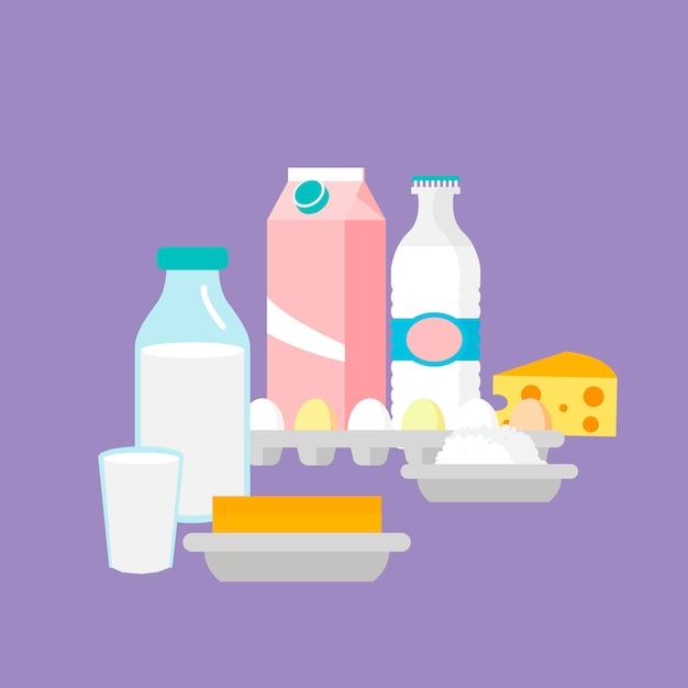 Ilustração em vetor plana de produtos lácteos Vetor Premium
