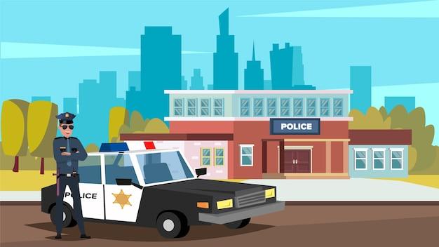 Ilustração em vetor plana de um policial em frente a um carro da polícia e um escritório de polícia em uma cidade grande. Vetor Premium