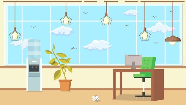 Ilustração em vetor plana design de interiores de escritório. Vetor Premium