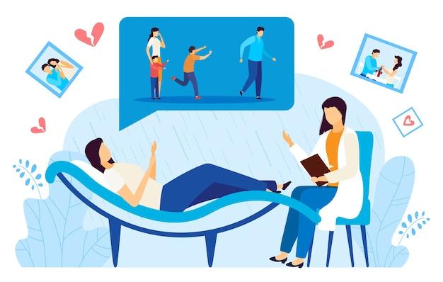 Ilustração em vetor plana divórcio psicólogo consulta. doutor personagem em desenho animado consultando paciente deprimida e divorciada em sessão de psicoterapia Vetor Premium